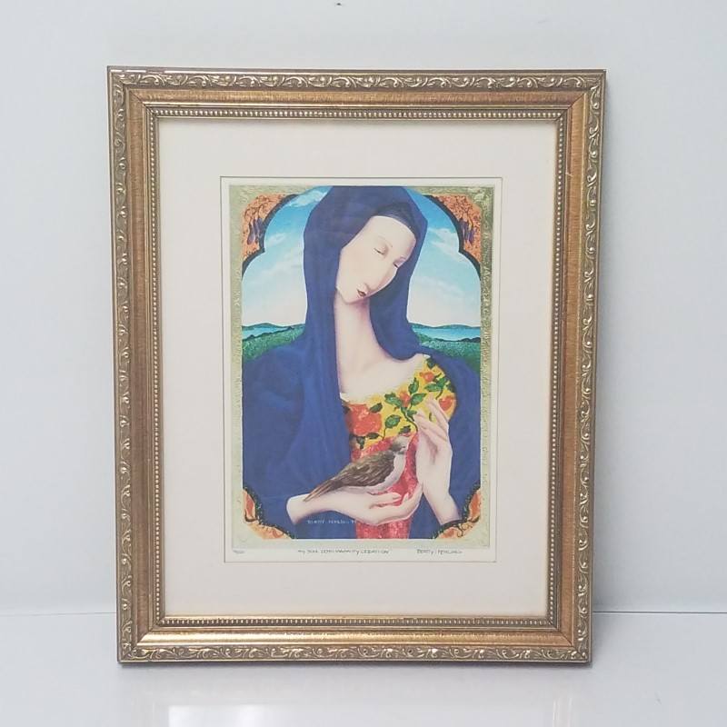 """Laura Beatty Limited Edition Signed & Number """"Blue Madonna"""" Framed Giclee Print"""