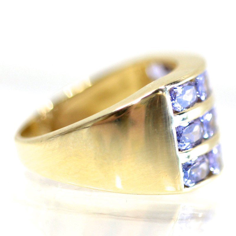 14K Yellow Gold 3 Tiered Channel Set Oval Cut Tanzanite Ring Size 7
