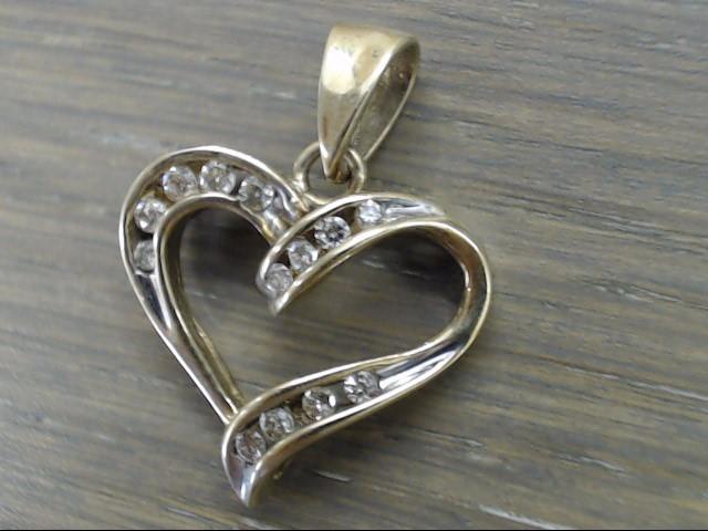 ZEI NATURAL DIAMOND 0.13tcw HEART PENDANT CHARM REAL 10K GOLD 2.2g