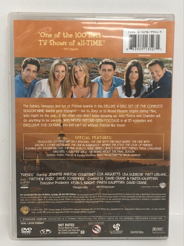 DVD BOX SET FRIENDS THE COMPLETE NINTH SEASON