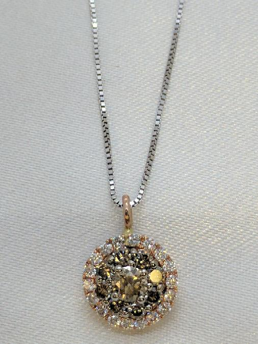 "17.5"" Diamond Cluster Necklace 27 Diamonds .57 TCW 14K 2 Tone Gold"