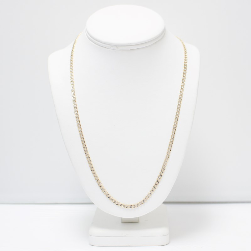 "22"" 10K 2-Tone Yellow and White Gold Curb Chain"