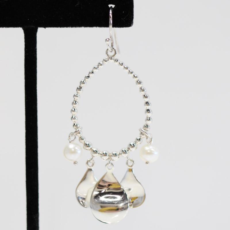 Michael Dawkins Sterling Silver Dangle Fish Hook Earrings