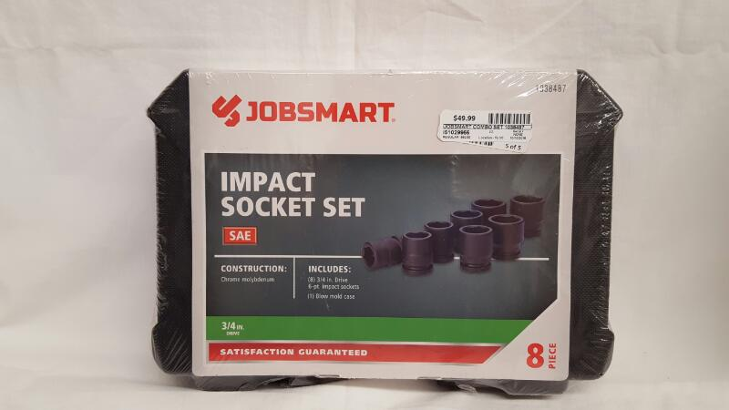 """JOBSMART 1038487 8pc 3/4"""" 6pt Impact Socket Set, Chrome Molybdenum"""