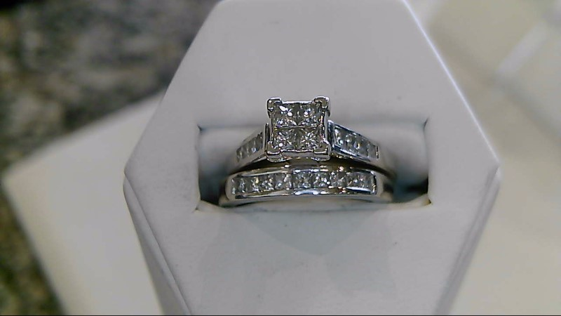 Lady's Diamond Wedding Set 21 Diamonds .96 Carat T.W. 14K White Gold 6.3g