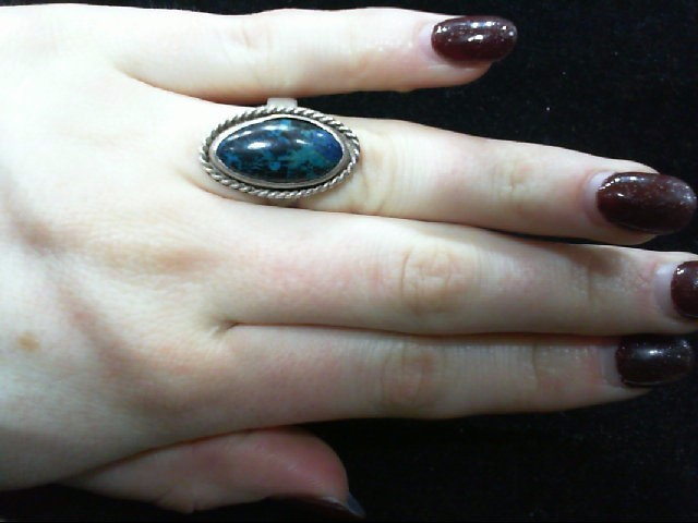 Lady's Silver 925 Turquiose Ring 6.2g Size 7
