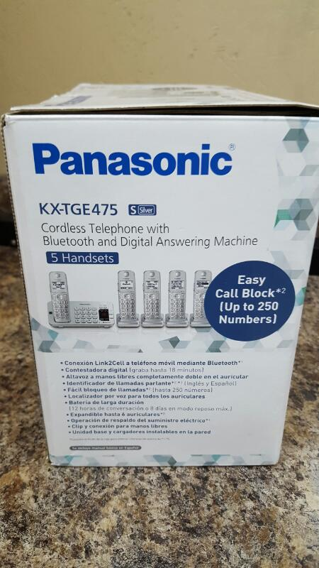 Panasonic KX-TGE475S Link2Cell Bluetooth Cordless Phone with Answering Machine