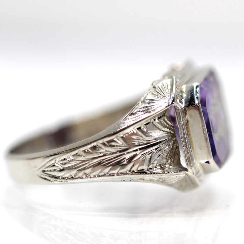 10K White Gold Independent Order Of Odd Fellows Amethyst Ring SZ 8.5