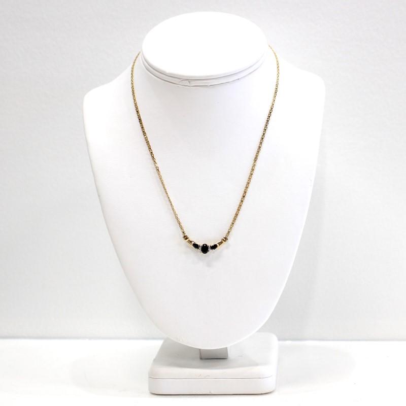 "Lovely 16"" Three Stone Sapphire & Diamond 10K Yellow Gold Necklace"
