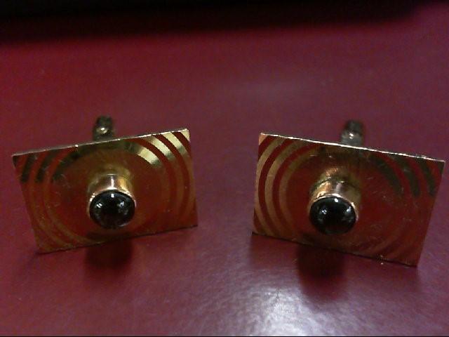Gold & Black Star Sapphire Cuff Links 14K Yellow Gold 10.3g