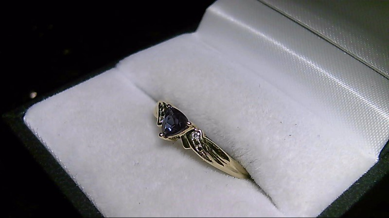 Mystic Topaz Trillion & Diamond 10K Yellow Gold Ring Sz 7