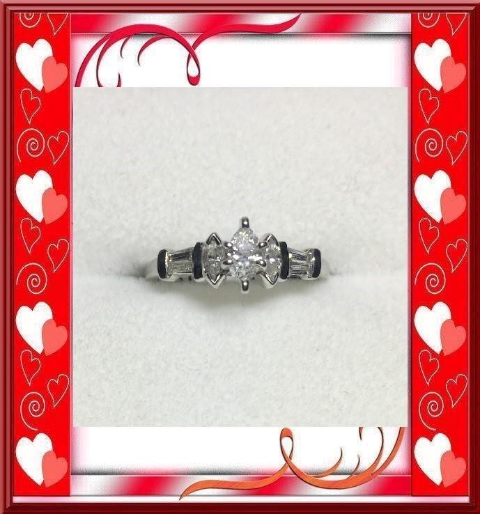 Lady's Platinum-Diamond Solitaire 7 Diamonds .52 Carat T.W. 950 Platinum 2.1dwt