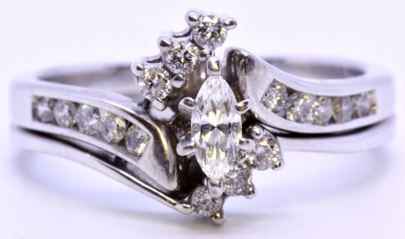 979303d49d0d9 ODI 14K Solid White Gold Marquise Diamond Bypass Wedding Ring ...