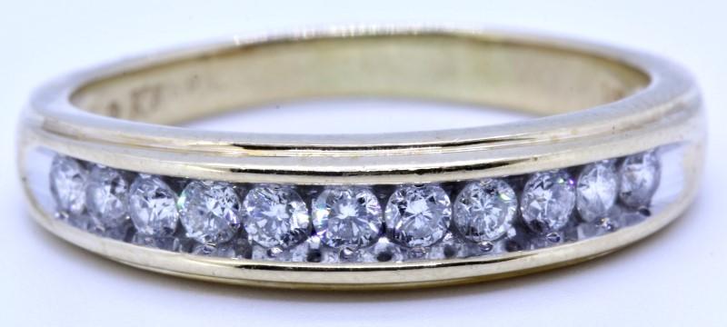 Keepsake 14K Solid Yellow Gold Channel Round Diamond Wedding