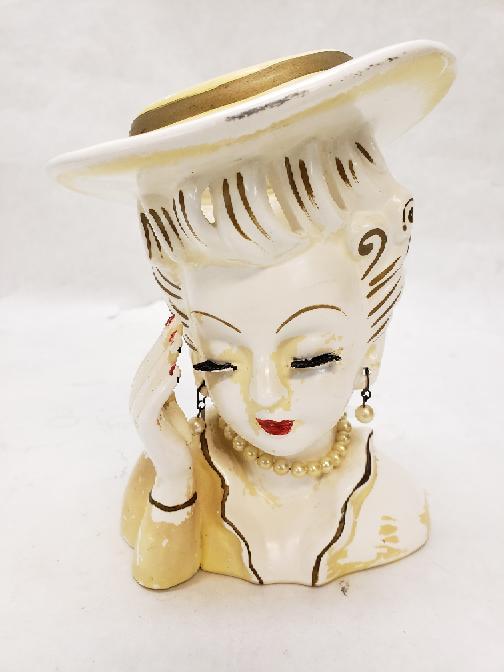 Antique Artmark 6 Lady In Lemon Chiffon Head Vase Very Good