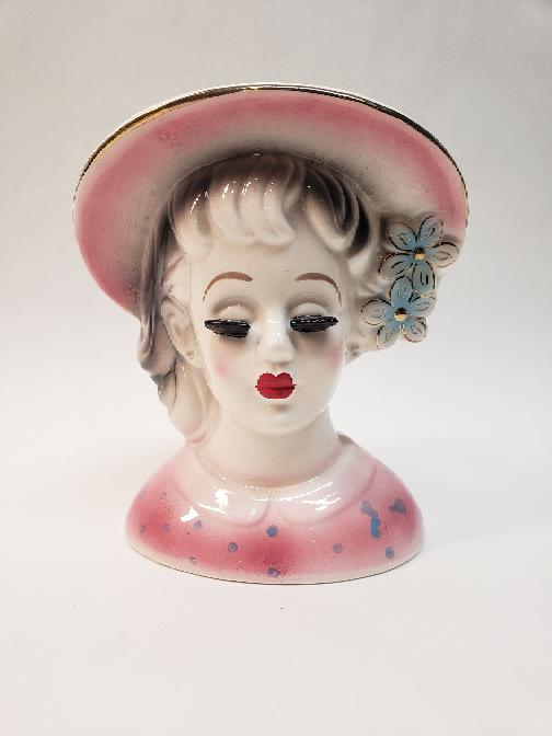 Unbranded Vintage Lady Head Vase In Pink Blue Polka Dot Very Good