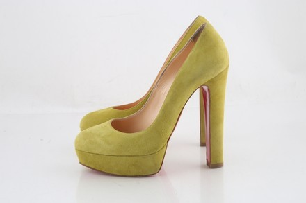 81fd11782d7 ... Christian Louboutin Bibi 140mm Suede Pumps Yellow Red Sole Shoes ...