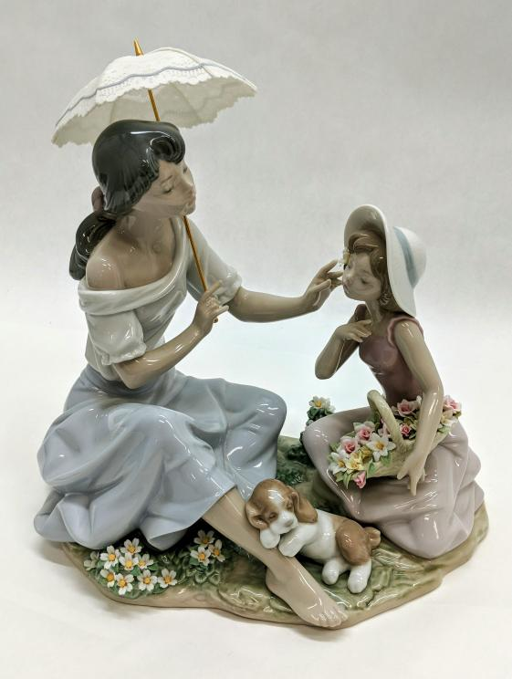 Lladro As Pretty As A Flower Mother Daughter Figurine 6910 Good