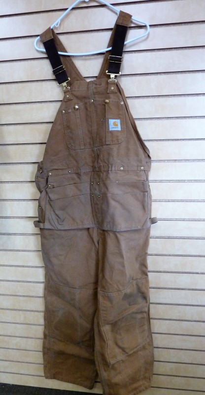 60bc56d9c97 CARHARTT MEN'S DUCK CARPENTER BIB OVERALLS UNLINED R28 42x30 Good ...