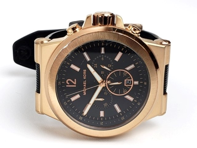 c68040dc727e MICHAEL KORS CHRONOGRAPH BLACK RUBBER MK-8184 Good
