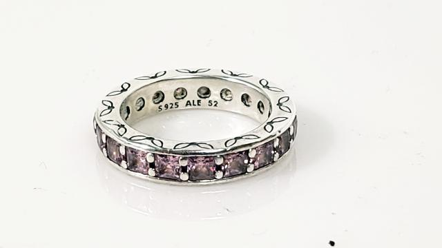 ab6490d4b Authentic Pandora 925 ALE Pink Crystal Eternity Ring Silver Size:6 ...