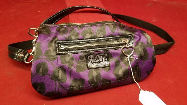 7b368aaee Coach Poppy Purple Ocelot Leopard Cheetah Sparkle Glitter Tote Handbag