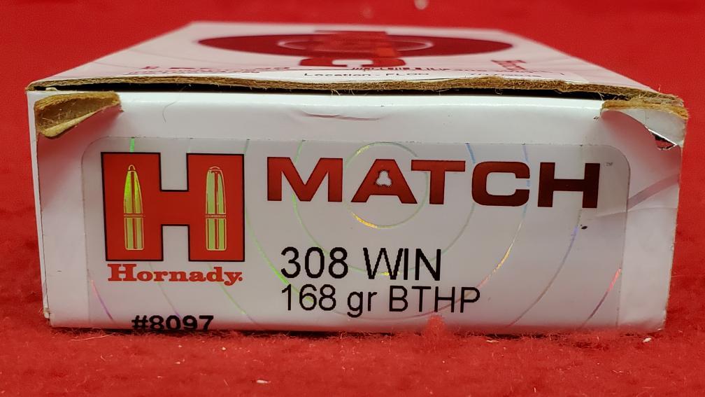 Hornady Match Ammunition 308 Winchester 168 Grain Hollow