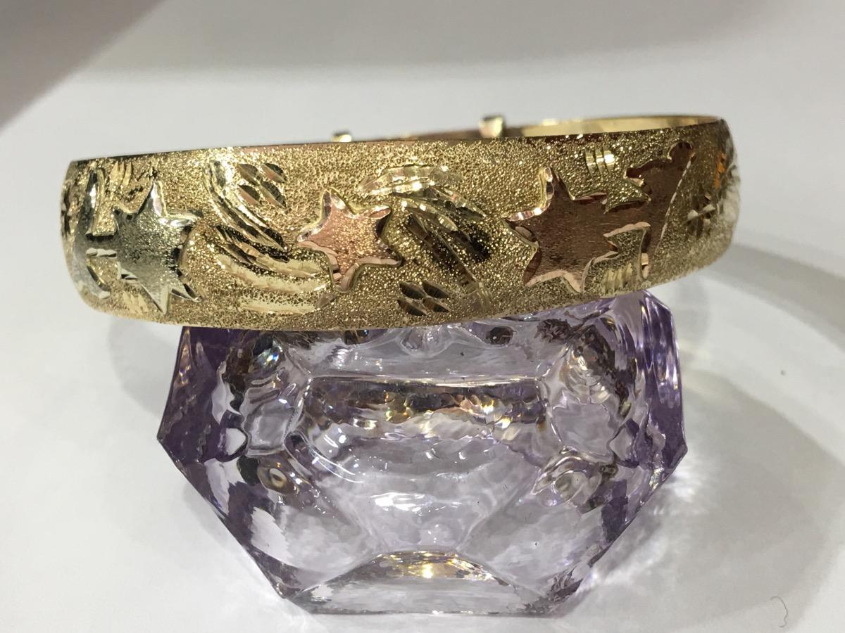 Gold Bangle Bracelet 14K Tri-color Gold 20.8g Pre-owned ...
