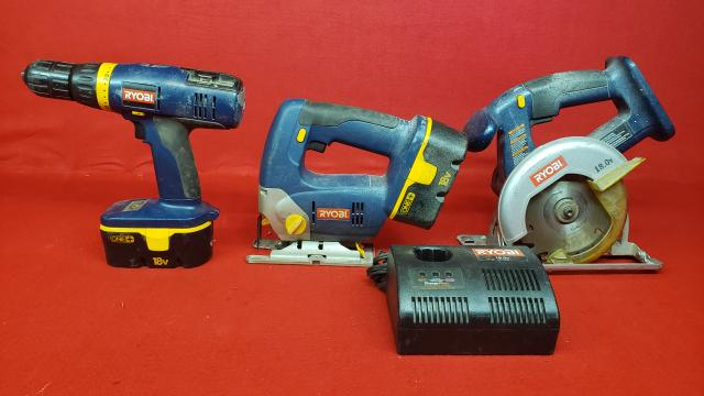 Ryobi 18v Cordless Set - Drill - Jig Saw - Circular Saw - 2 Battery