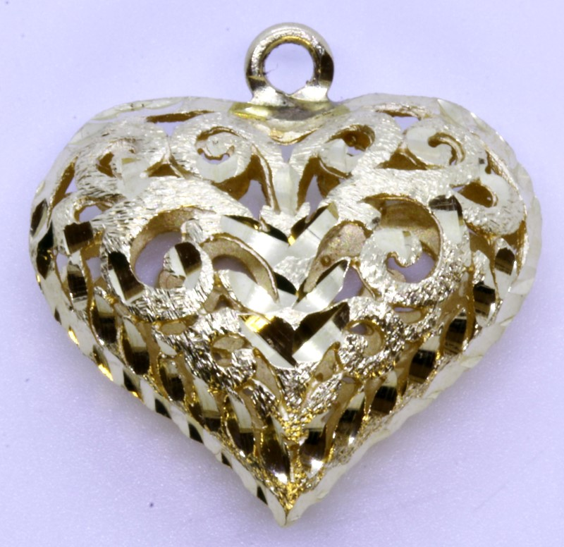 14k Solid Yellow Gold Open Heart Pendant Charm