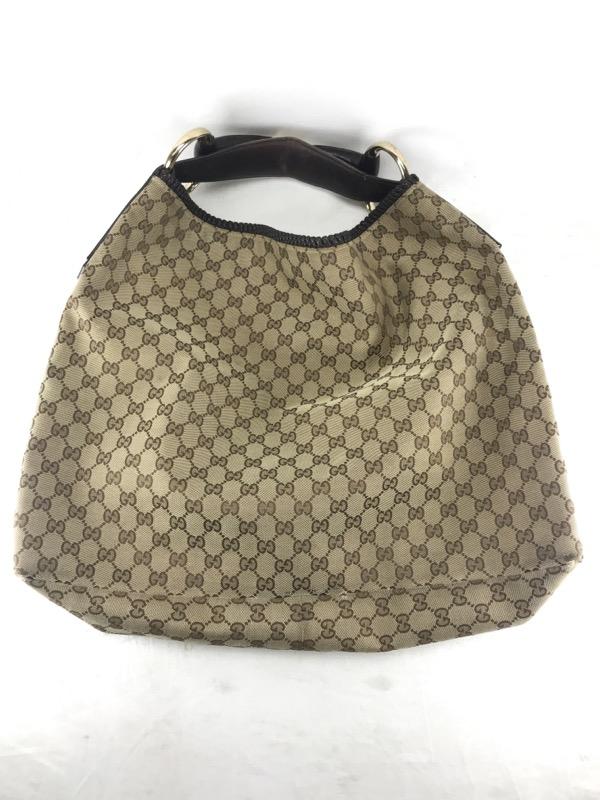 702fbdfe389 Authentic Gucci GG Monogram Canvas Large Horsebit Hobo Shoulder Bag 114900