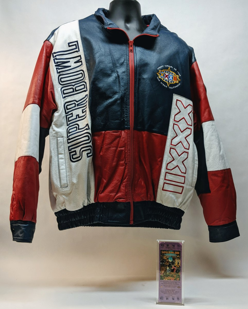 save off 92f70 b4e68 Rare Super Bowl XXXII Leather Jacket Broncos Packers Size XL