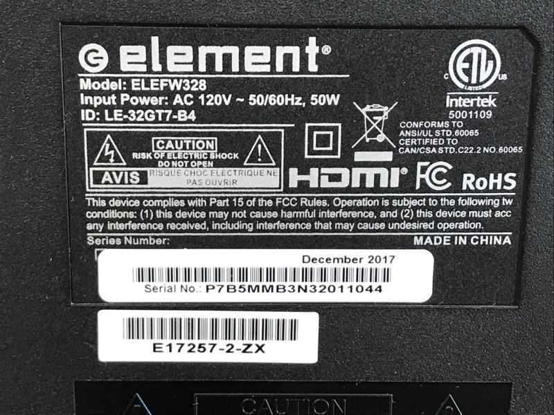 ELEMENT ELEFW328 720P 60HZ 32