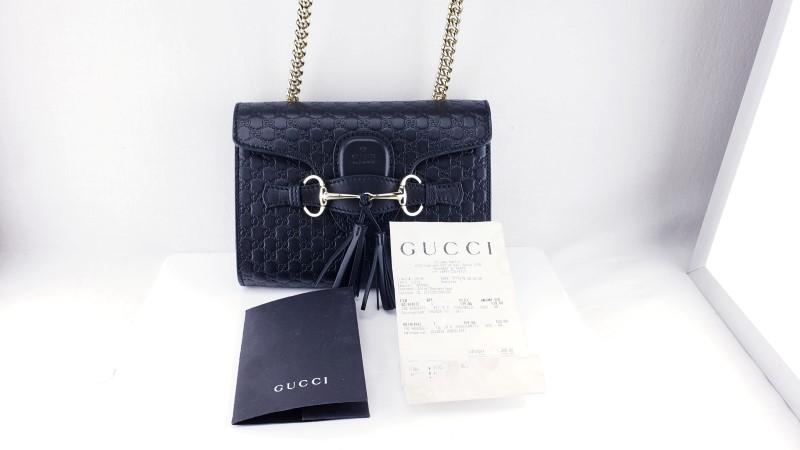 d5cd84ed35c42a Gucci Micro Guccissima GG Emily Black Handbag 449636 Like New   PB ...