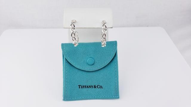 15ba79824 Tiffany & Co Sterling Silver infinity hoop Earrings W/ Pouch Pre ...