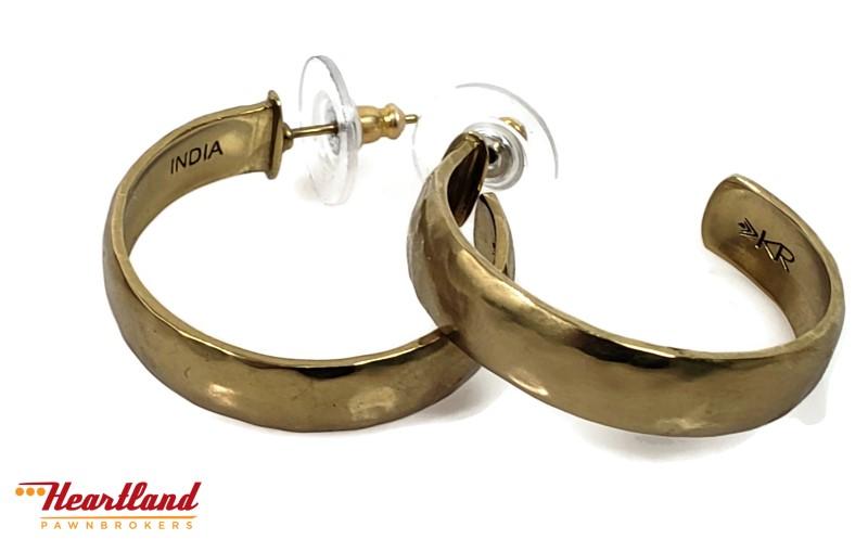 6ecd71725 Silpada KRP0121 Hammered Brass Hoop Earrings Pre-owned | Heartland ...