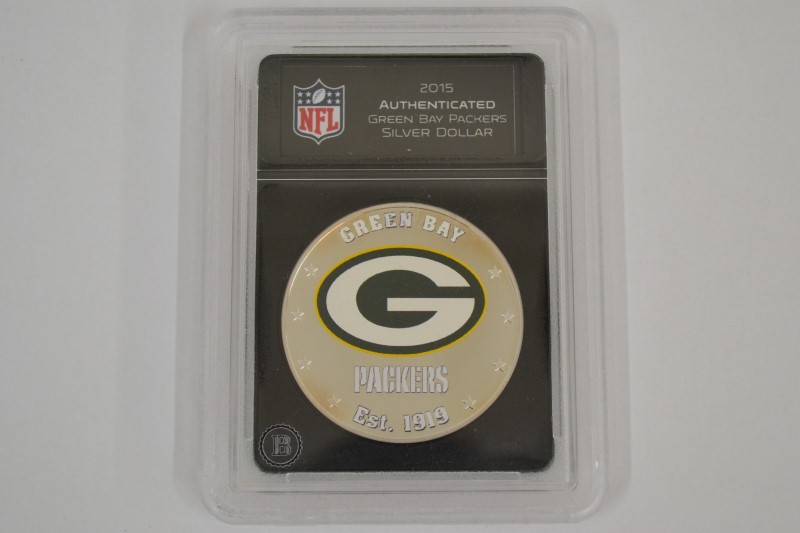 dd10fd4b BRADFORD EXCHANGE 2015 Authenticated GREEN BAY PACKERS SILVER DOLLAR ...