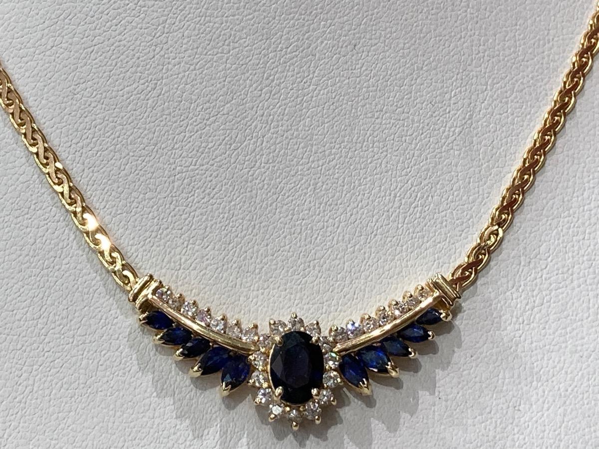 Sapphire & Diamond Necklace 28 Diamonds .59 Carat T.W. 14K ...